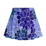 Azurite Blue Flowers Mini Flare Skirt
