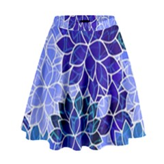 Azurite Blue Flowers High Waist Skirt by KirstenStar