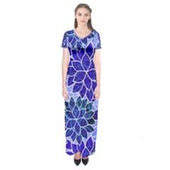 Azurite Blue Flowers Short Sleeve Maxi Dress by KirstenStar