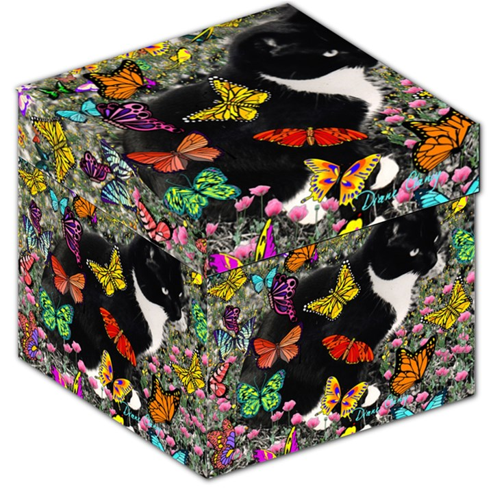 Freckles In Butterflies I, Black White Tux Cat Storage Stool 12