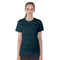Dark Blue Teal Mod Circles Women s Cotton Tee by BrightVibesDesign