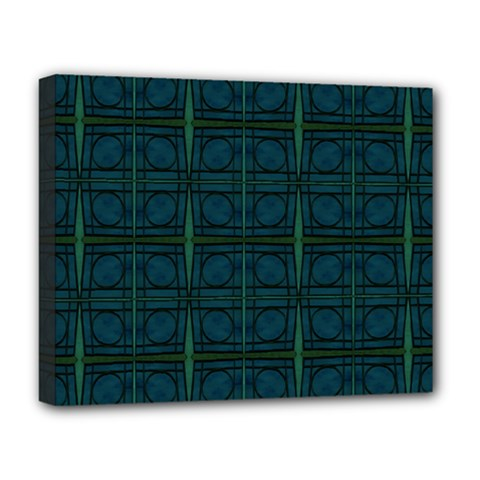 Dark Blue Teal Mod Circles Deluxe Canvas 20  X 16   by BrightVibesDesign