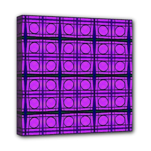 Bright Pink Mod Circles Mini Canvas 8  X 8  by BrightVibesDesign
