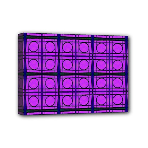 Bright Pink Mod Circles Mini Canvas 7  X 5  by BrightVibesDesign