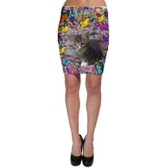 Emma In Butterflies I, Gray Tabby Kitten Bodycon Skirt by DianeClancy