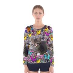 Emma In Butterflies I, Gray Tabby Kitten Women s Long Sleeve Tee by DianeClancy
