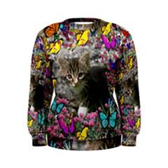 Emma In Butterflies I, Gray Tabby Kitten Women s Sweatshirt by DianeClancy