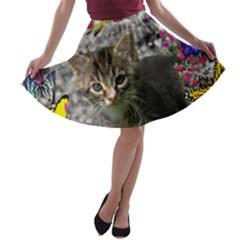 Emma In Butterflies I, Gray Tabby Kitten A Line Skater Skirt by DianeClancy