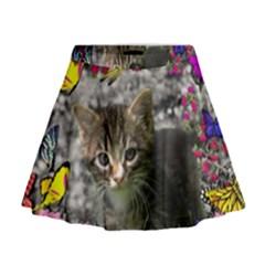 Emma In Butterflies I, Gray Tabby Kitten Mini Flare Skirt by DianeClancy