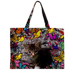 Emma In Butterflies I, Gray Tabby Kitten Mini Tote Bag by DianeClancy