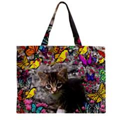 Emma In Butterflies I, Gray Tabby Kitten Zipper Mini Tote Bag by DianeClancy