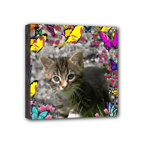 Emma In Butterflies I, Gray Tabby Kitten Mini Canvas 4  X 4  by DianeClancy