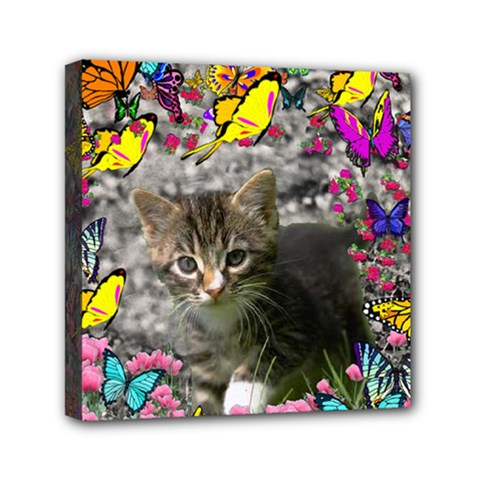 Emma In Butterflies I, Gray Tabby Kitten Mini Canvas 6  X 6  by DianeClancy