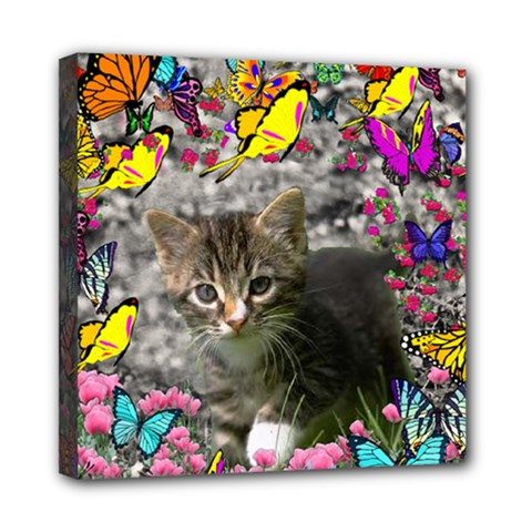 Emma In Butterflies I, Gray Tabby Kitten Mini Canvas 8  X 8  by DianeClancy