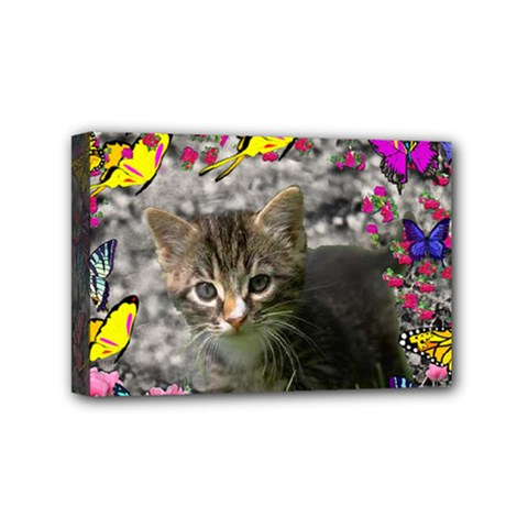 Emma In Butterflies I, Gray Tabby Kitten Mini Canvas 6  X 4  by DianeClancy