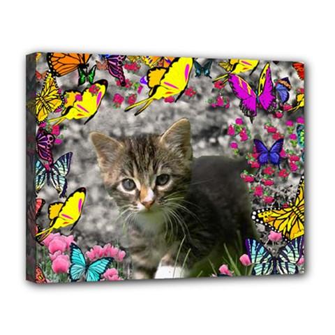 Emma In Butterflies I, Gray Tabby Kitten Canvas 14  X 11  by DianeClancy