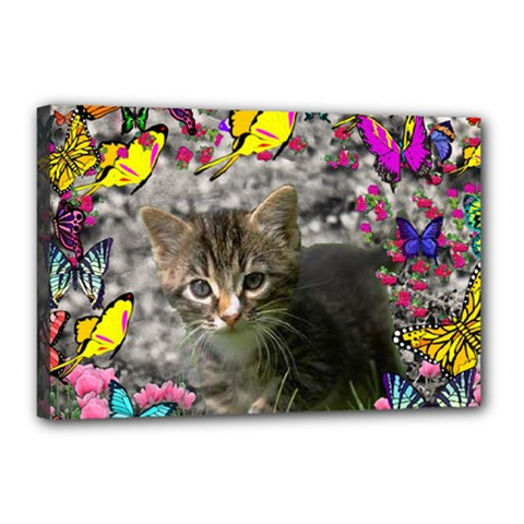 Emma In Butterflies I, Gray Tabby Kitten Canvas 18  X 12  by DianeClancy