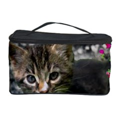 Emma In Butterflies I, Gray Tabby Kitten Cosmetic Storage Case by DianeClancy