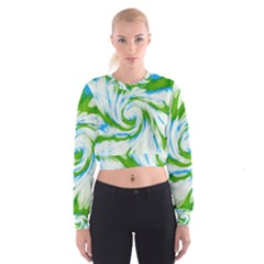 Tie Dye Green Blue Abstract Swirl Women s Cropped Sweatshirt by BrightVibesDesign