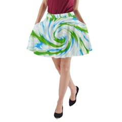 Tie Dye Green Blue Abstract Swirl A Line Pocket Skirt by BrightVibesDesign