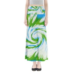 Tie Dye Green Blue Abstract Swirl Maxi Skirts by BrightVibesDesign