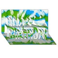 Tie Dye Green Blue Abstract Swirl Happy Birthday 3D Greeting Card (8x4)  by BrightVibesDesign