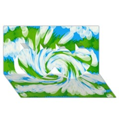 Tie Dye Green Blue Abstract Swirl Twin Hearts 3d Greeting Card (8x4)  by BrightVibesDesign