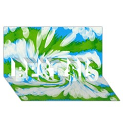 Tie Dye Green Blue Abstract Swirl Best Sis 3d Greeting Card (8x4)  by BrightVibesDesign