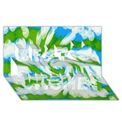 Tie Dye Green Blue Abstract Swirl Best Wish 3d Greeting Card (8x4)  by BrightVibesDesign