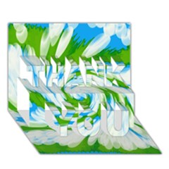 Tie Dye Green Blue Abstract Swirl Thank You 3d Greeting Card (7x5)  by BrightVibesDesign