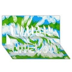 Tie Dye Green Blue Abstract Swirl Laugh Live Love 3d Greeting Card (8x4)  by BrightVibesDesign