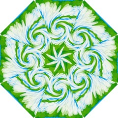 Tie Dye Green Blue Abstract Swirl Hook Handle Umbrellas (small) by BrightVibesDesign