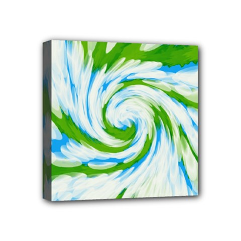 Tie Dye Green Blue Abstract Swirl Mini Canvas 4  X 4  by BrightVibesDesign
