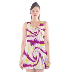 Tie Dye Pink Yellow Swirl Abstract Scoop Neck Skater Dress by BrightVibesDesign