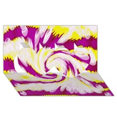 Tie Dye Pink Yellow Abstract Swirl Twin Hearts 3d Greeting Card (8x4)  by BrightVibesDesign