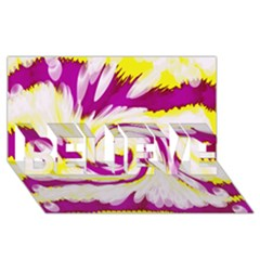 Tie Dye Pink Yellow Abstract Swirl Believe 3d Greeting Card (8x4)  by BrightVibesDesign