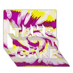 Tie Dye Pink Yellow Abstract Swirl Take Care 3d Greeting Card (7x5)  by BrightVibesDesign