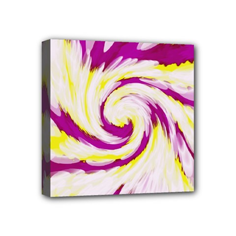 Tie Dye Pink Yellow Abstract Swirl Mini Canvas 4  X 4  by BrightVibesDesign