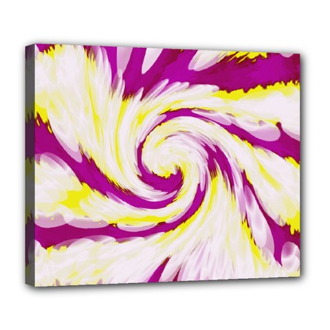 Tie Dye Pink Yellow Abstract Swirl Deluxe Canvas 24  X 20   by BrightVibesDesign