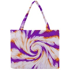 Tie Dye Purple Orange Abstract Swirl Mini Tote Bag by BrightVibesDesign