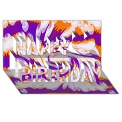 Tie Dye Purple Orange Abstract Swirl Happy Birthday 3d Greeting Card (8x4)  by BrightVibesDesign