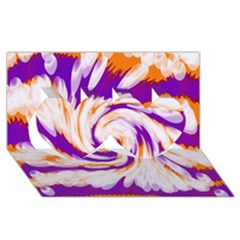 Tie Dye Purple Orange Abstract Swirl Twin Hearts 3d Greeting Card (8x4)  by BrightVibesDesign