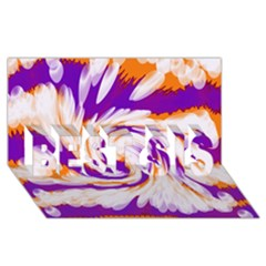 Tie Dye Purple Orange Abstract Swirl Best Sis 3d Greeting Card (8x4)  by BrightVibesDesign