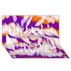 Tie Dye Purple Orange Abstract Swirl Best Wish 3d Greeting Card (8x4)  by BrightVibesDesign