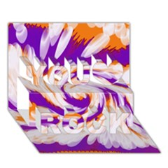 Tie Dye Purple Orange Abstract Swirl You Rock 3d Greeting Card (7x5)  by BrightVibesDesign
