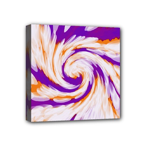 Tie Dye Purple Orange Abstract Swirl Mini Canvas 4  X 4  by BrightVibesDesign