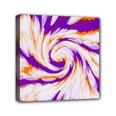 Tie Dye Purple Orange Abstract Swirl Mini Canvas 6  X 6  by BrightVibesDesign