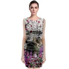 Emma In Flowers I, Little Gray Tabby Kitty Cat Classic Sleeveless Midi Dress by DianeClancy