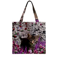 Emma In Flowers I, Little Gray Tabby Kitty Cat Grocery Tote Bag by DianeClancy