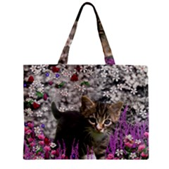 Emma In Flowers I, Little Gray Tabby Kitty Cat Mini Tote Bag by DianeClancy
